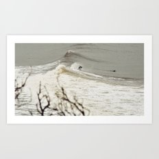 Surfing backwards Art Print