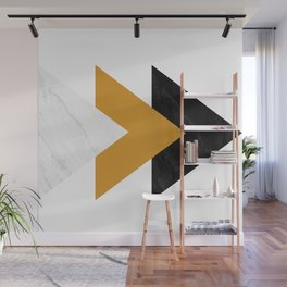 Forward marble yellow arrows Wall Mural