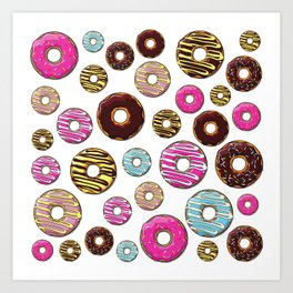 Donut Pattern, Colorful Donuts - Pink Blue Yellow Art Print