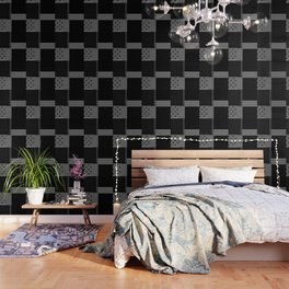 Multiple Black White Geometric Patterns Wallpaper