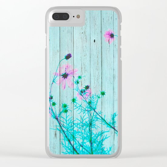 Sweet Flowers on Wood 03 Clear iPhone Case