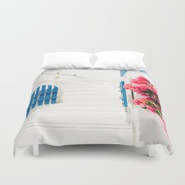 Colorful Blue Gate and White Staircases in Oia Santorini Island Greece Duvet Cover
