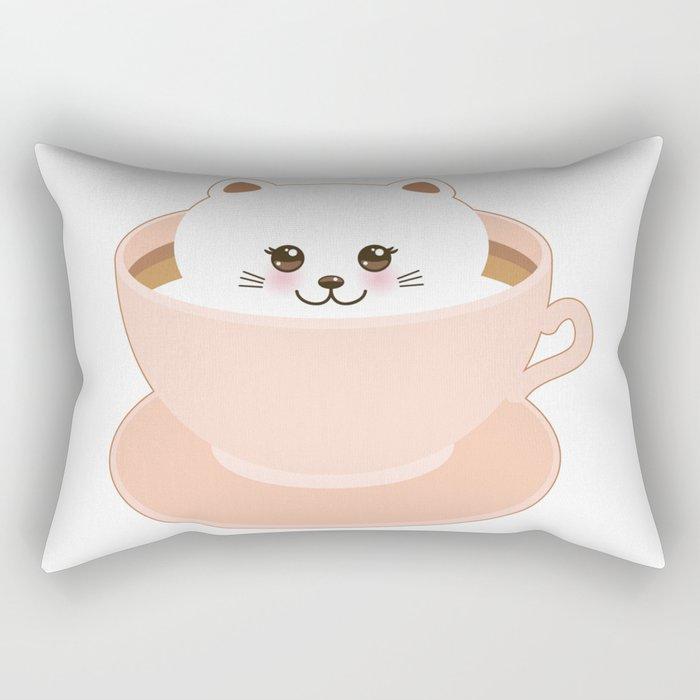 Cute Kawai cat in pink cup Rectangular Pillow