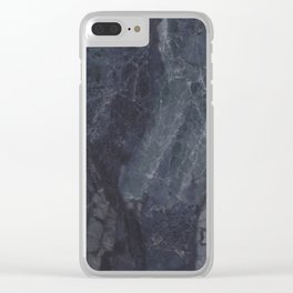 Navy Blue Marble Clear iPhone Case