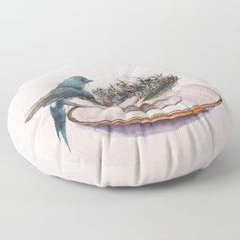 Bird nest in a teacup Floor Pillow