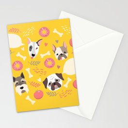 Cute dog illustration color card with cloud place for your text Stationery Cards
