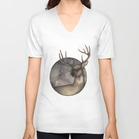 antlers V-neck T-shirts featuring Antlers by Ericaphant