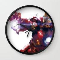 iron man Wall Clocks featuring Iron man by Gary Reddin