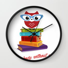 owl on the books with glass  Marcus Tullius Cicero quote Wall Clock