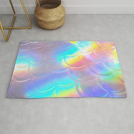 Mermaid Sheen - Iridescent Sea Scales, Mother of Pearl, Ocean Rainbow Fish, Colorful Shiny Rug