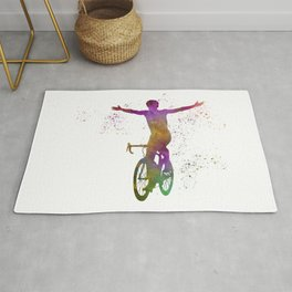 Winning Male Cyclist In Watercolor 04 Rug