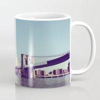 brooklyn bridge Mugs featuring Brooklyn Bridge  by Shilpa