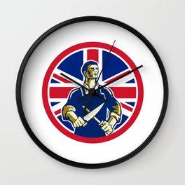 British Butcher Union Jack Flag Icon Wall Clock