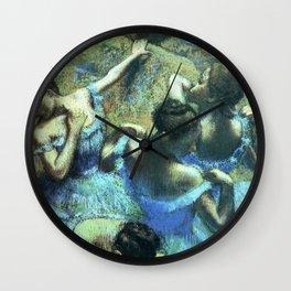 Blue Dancers by Edgar Degas Wall Clock
