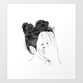 This girl is embarrassed off her face Art Print