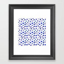 Blue polka dot watercolor pattern Framed Art Print