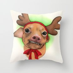 Chihuahua with antlers - Tuna Throw Pillow