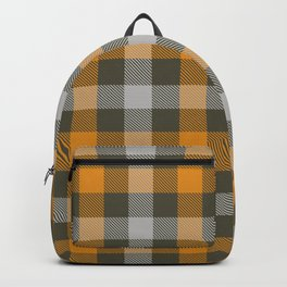 Traditional Yellow and Grey Gingham Plaid Design Backpack