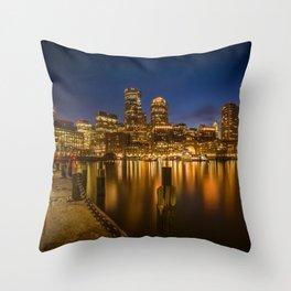 BOSTON Fan Pier Park & Skyline in the evening Throw Pillow