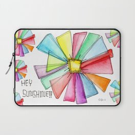 Hey Sunshine!! watercolor illustration flower pattern floral painting colorful typography positive Laptop Sleeve