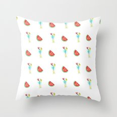 Watermelons and cocktails Throw Pillow