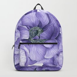 Violet anemone flowers watercolor pattern Backpack