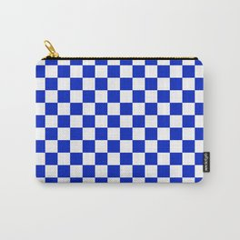 Cobalt Blue and White Checkerboard Pattern Carry-All Pouch