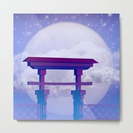 Chinese Temple Gate under full moon Metal Print