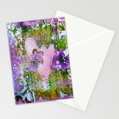 Lavender Hearts and Flowers Stationery Cards