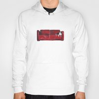 sofa Hoodies featuring cat in a red sofa  by memories warehouse by @aikogg