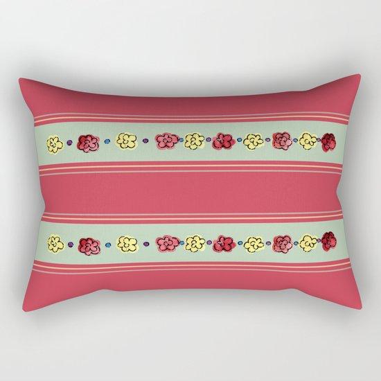 A Rosey Outlook Red Rectangular Pillow
