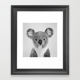 Baby Koala - Black & White Framed Art Print