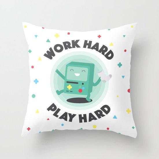 Work Hard, Play BMO Throw Pillow