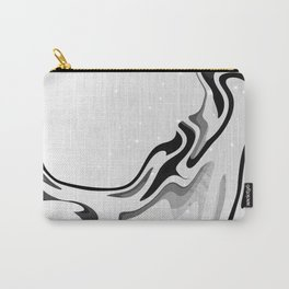 Elegant Silver Liquid Marble Waves Design Carry-All Pouch