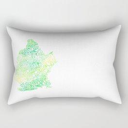 Typographic Brooklyn - Green Watercolor map art Rectangular Pillow