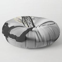 A moonlit lake Floor Pillow