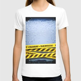 Grunge Background With Danger Tapes T-shirt