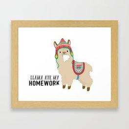 Llama ate my homework Framed Art Print
