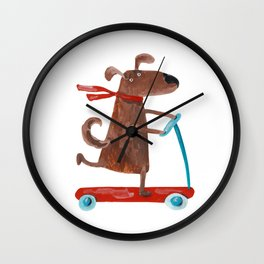 A dog riding a scooter illustration. Cute animal painting illustration Wall Clock
