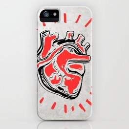 Human heart ink hand drawn illustration iPhone Case