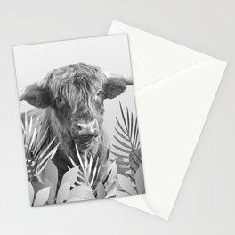 Irish Highland Cow - Leaves Black & Withe Stationery Cards