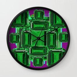 Emerald Gems May Babies Birthstones on Purple Wall Clock