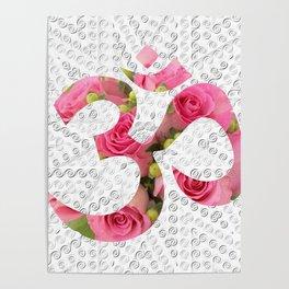 Aum Rose Silver Mandala Poster