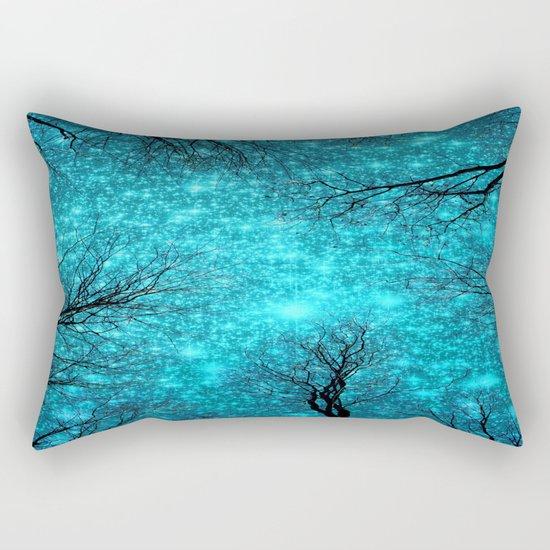 Black Trees TEAL SPACE Rectangular Pillow