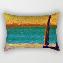 Seascape Boat Painting Impressionism Blue Ocean Art Rectangular Pillow
