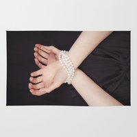 bondage Area & Throw Rugs featuring Tied with pearls by Maria Heyens