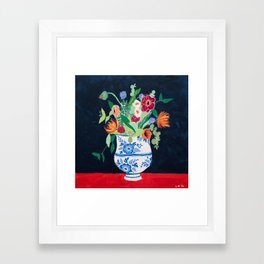 Bouquet of Flowers in Blue and White Urn on Navy Framed Art Print