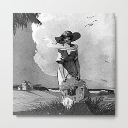 Lady by the Sea Metal Print