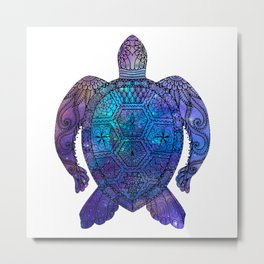 Space Sea Turtle - black Metal Print