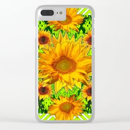 Modern Lime Green Deco Style Shasta Daisies Art Clear iPhone Case